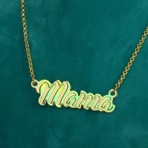 mama name necklace gift for mom iridescent acrylic